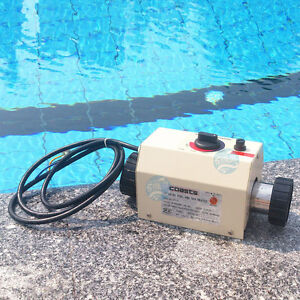 220v 3kw swimming pool and spa hot tub heater electric heating thermostat ebay for Electric swimming pool heaters