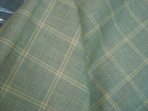 3-44-yd-English-Luxury-Wool-Linen-Silk-Fabric-8-5-oz-Suiting-Kiwi-Plaid-124-034-BTP