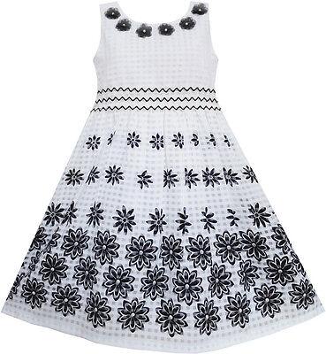 Robe Fille Noir Blanc Fleur Élégant Princesse Été Enfant Vêtements 6-14 ans
