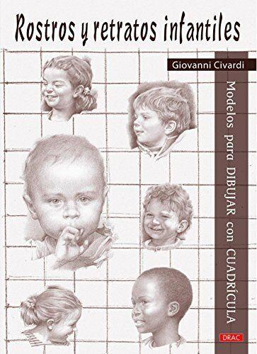 Modelos para dibujar con cuadrícula. Rostros y retratos infantiles