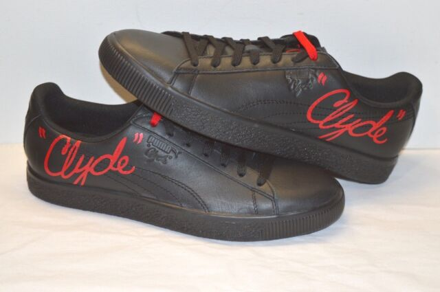 new concept 132f7 00cfd PUMA Clyde Signature Mens Black Leather Lace up SNEAKERS Shoes 11