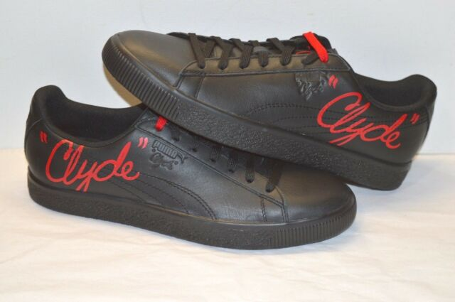 new concept 80e1d a2010 PUMA Clyde Signature Mens Black Leather Lace up SNEAKERS Shoes 11