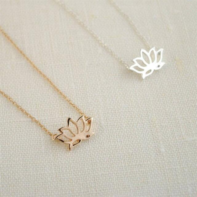 "TINY LOTUS NECKLACE 0.7"" Small Cute Pendant Gold Silver Tone Chain Jewelry NEW"