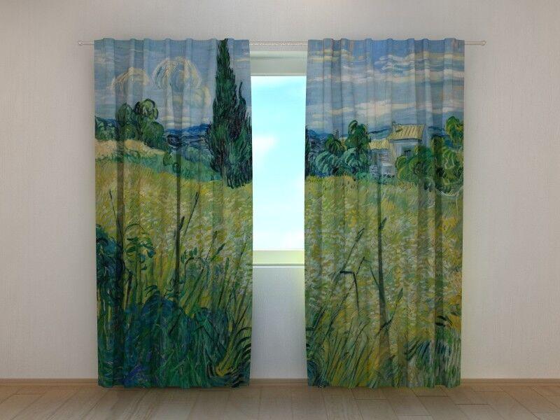 Cortina Dormitorio Arte Vincent van Gogh cosecha en la Crau 3D wellmira