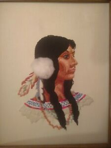 Vintage Hand Made Crewel Portrait of Native American Woman By Ona May Inscribed