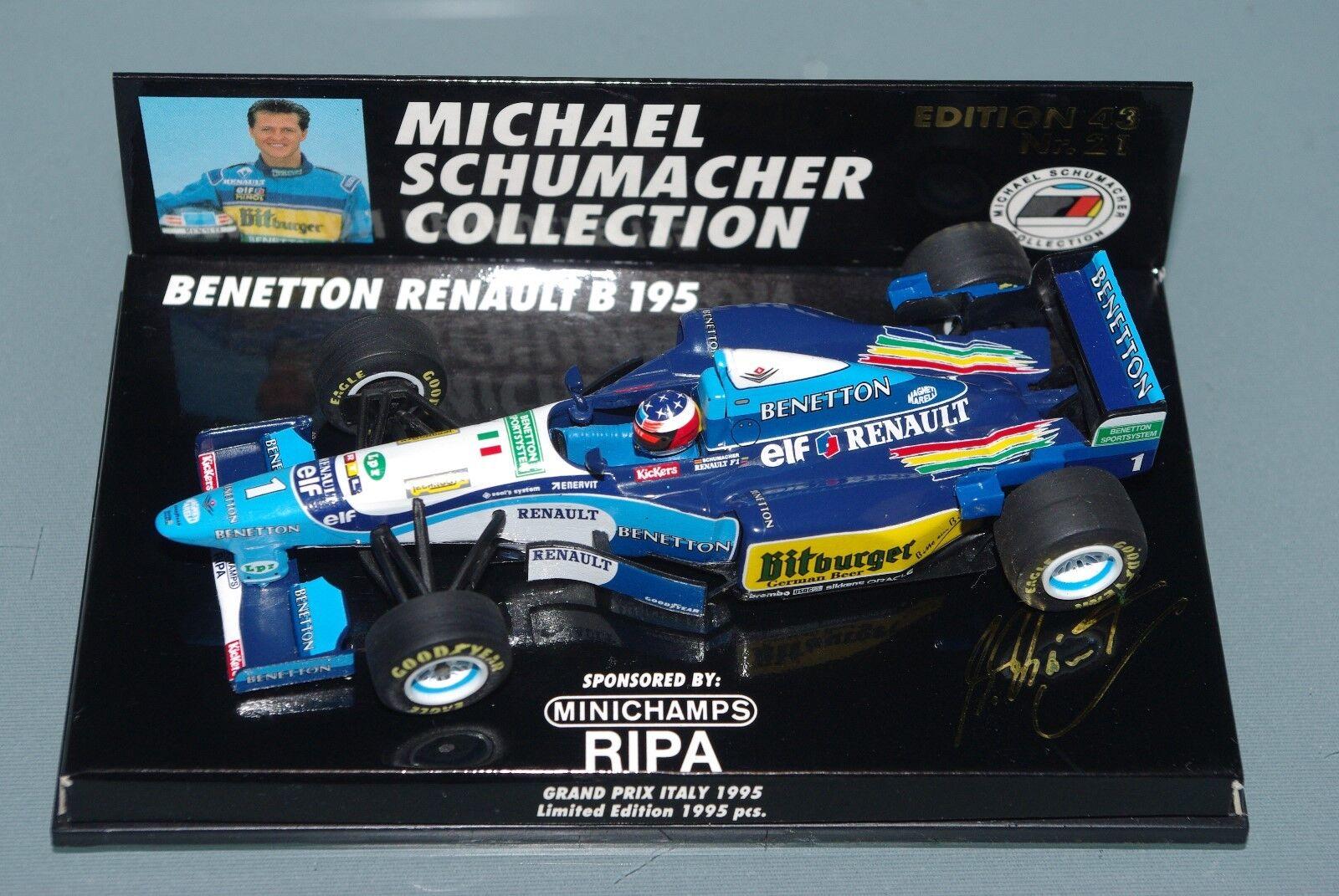 Minichamps F1 1 43 Benetton Renault B195-Schumacher GP Italia 1995-Ripa MSC21