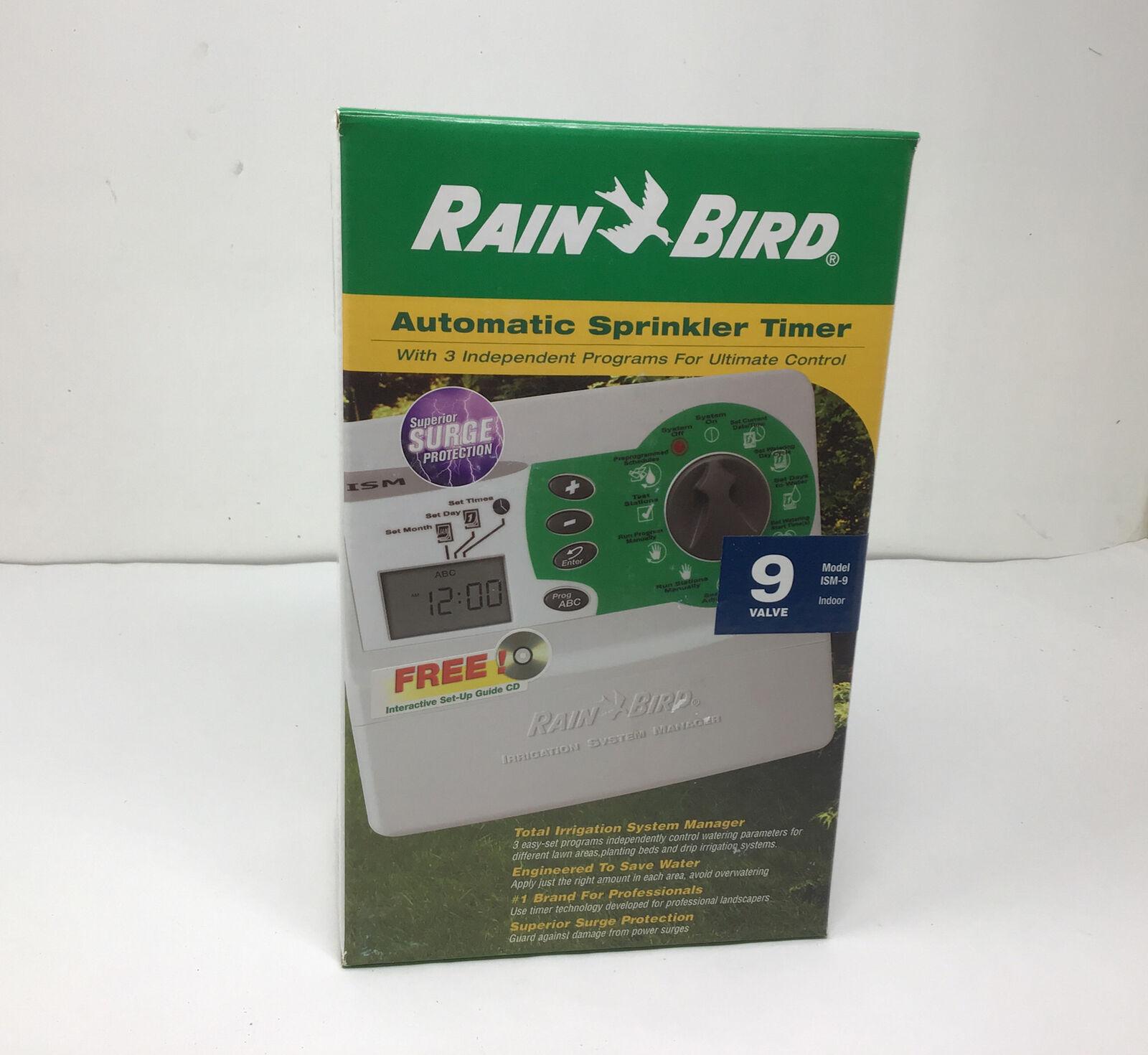 New Rain Bird Automatic Sprinkler Timer 9 Valve ISM-9 Indoor Irrigation System