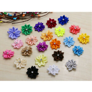 10-pcs-Satin-Ribbon-Flower-w-crystal-bead-Sewing-DIY-Wedding-Appliques