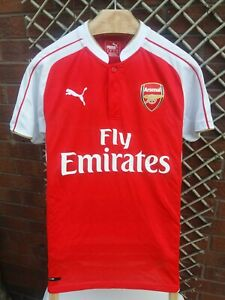 af0ef443bc1 ARSENAL MENS UK SIZE SMALL 2015 16 PUMA RED   WHITE HOME SHIRT VGC ...