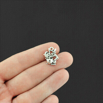 10 Halloween Witch Charms 2 Sided A-234 Antique Silver Charms