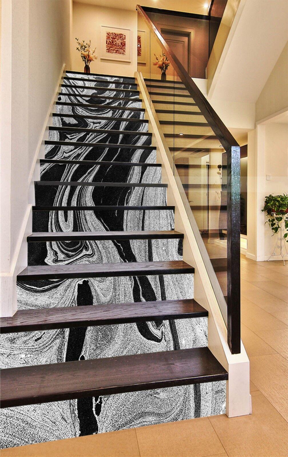 3D Schwarz Weiß 8 Fliese Marmor Stair Risers Fototapete Vinyl Aufkleber Tapete