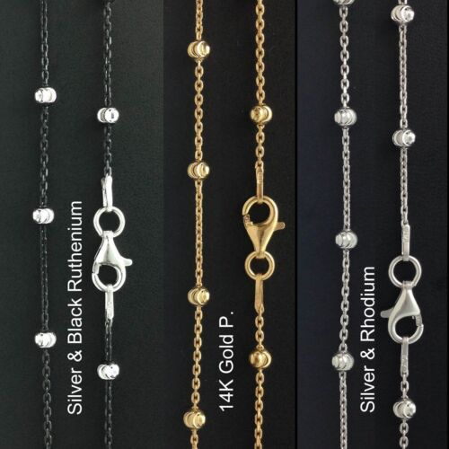 ITALY Sterling Ruthenium Plated//Gold Plated//Silver Moon-cut Ball Chain Necklace