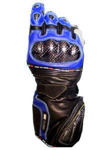 Nuovi-guanti-moto-pelle-protezioni-carbonio-mod-IQ-DeltaTek-blu-nero-tg-gt-S