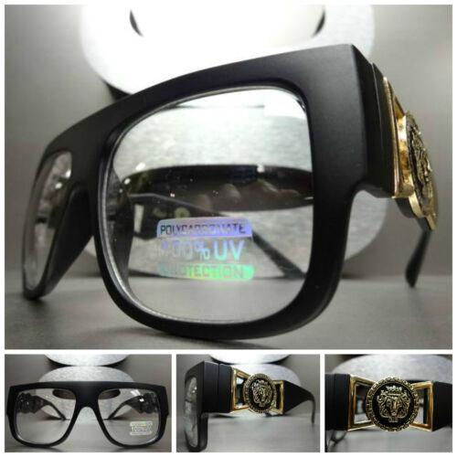 VINTAGE HIP HOP RAPPER GANGSTER PARTY Clear Lens EYE GLASSES Matte Black /& Gold