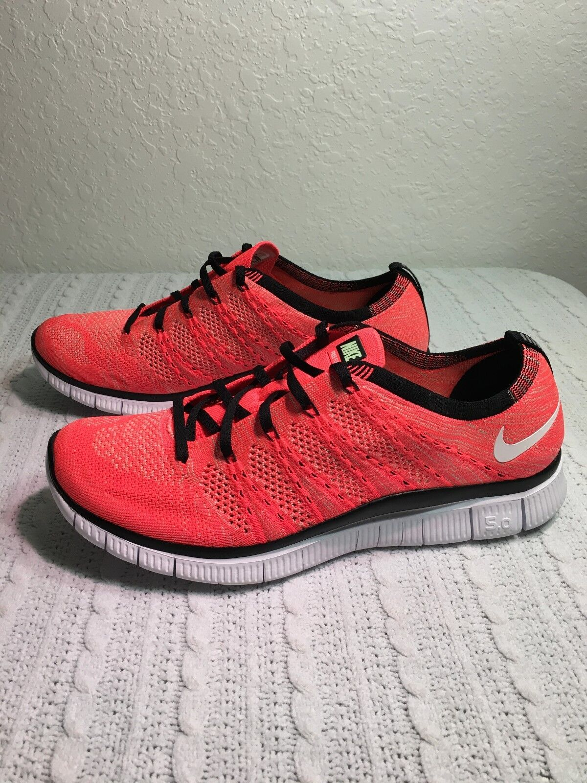 NIKE FREE FLYKNIT NSW HOT LAVA/WHITE/GREEN/BLCK MEN SIZE 9.5 NEW 599459 800