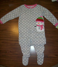 Girls CARTER'S SNOWMAN Blanket Sleeper / Pajamas - Size 4 - NEW NWT $30 GRAY