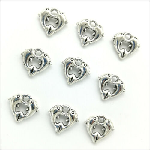 100pcs Dolphins Antique Silver Charms Pendants For Jewelry Making DIY 11*12mm