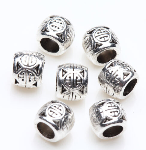 50//100pcs Quality Silver Plated Loose Spacer Beads Charms Jewelry Making DIY Lot