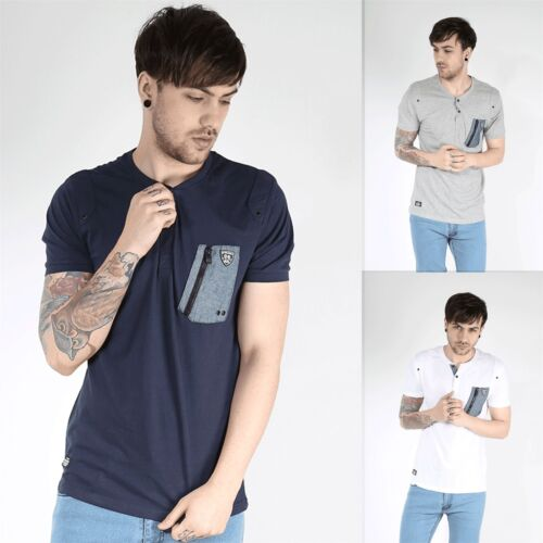 Rawcraft Mens Single Chest Pocket V Button Neck Short Sleeve Soft Touch T Shirt
