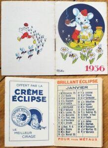 Pipe-Smoking Bear, Honey Bees 1936 'Creme Eclipse' Advertising Pocket Calendar