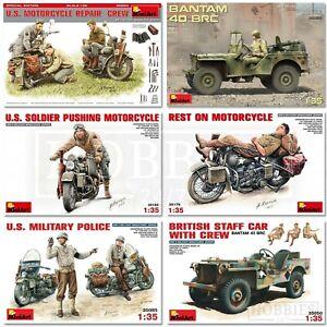 Miniart-vehicules-WW2-Echelle-1-35-avec-chiffres-JEEP-MOTO-Kits