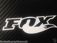 2x BIANCO GRANDE FOX Shox Adesivo decalcomania in vinile di coda FORCHETTE/Moto/telaio