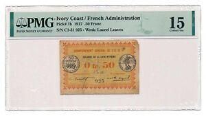 IVORY COAST banknote 0,50 Franc 1917 PMG F 15