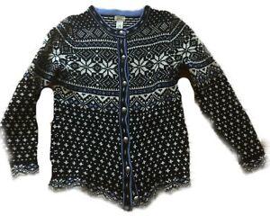 LL-BEAN-Vintage-Nordic-Wool-Sweater-Cardigan-Snowflake-Fair-Isle-L-Large