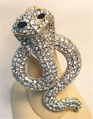 Cobra Snake Stretch Cocktail Ring Crystal Silver Tone Metal