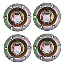 """FOUR - 3.5"""" Round Zinc Recessed Swivel D Ring Rope Tie Down Trailer 1800#"""