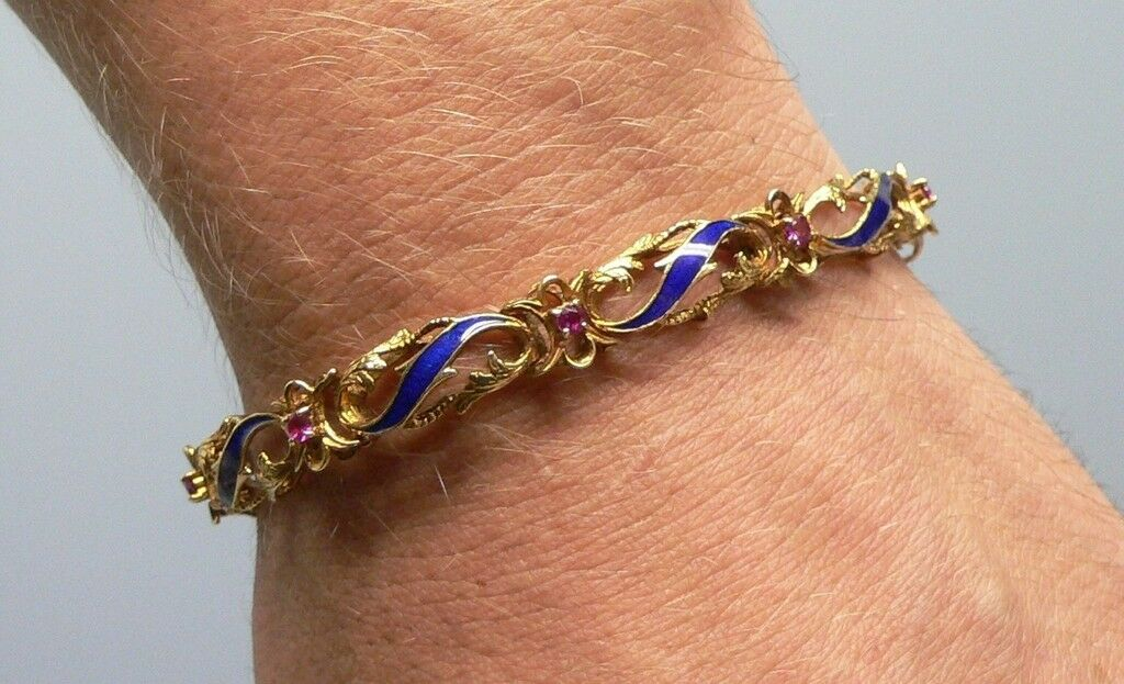 Stunning Enameled 18k gold Designer Bracelet 7 3 4 Inch with Jewels