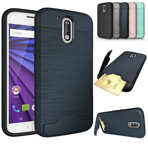 outlet store sale d3c94 5d63b Details about For Motorola Moto G4 Plus Credit Card Slot Holder Case Stand  Hard Armor Cover