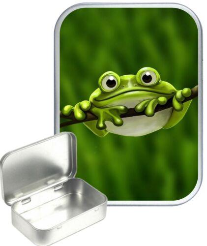 Cute Frog Small Silver Hinged Gift Tin 30ml Hinged Tobacco Tin