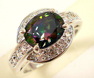 Fashion Women Oval Cut 2.85ct Emerald 925 Silver New Ring Size 6-10