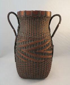 Antique-Japanese-Woven-Bamboo-Ikebana-Flower-Arranging-Basket-Vase-Japan