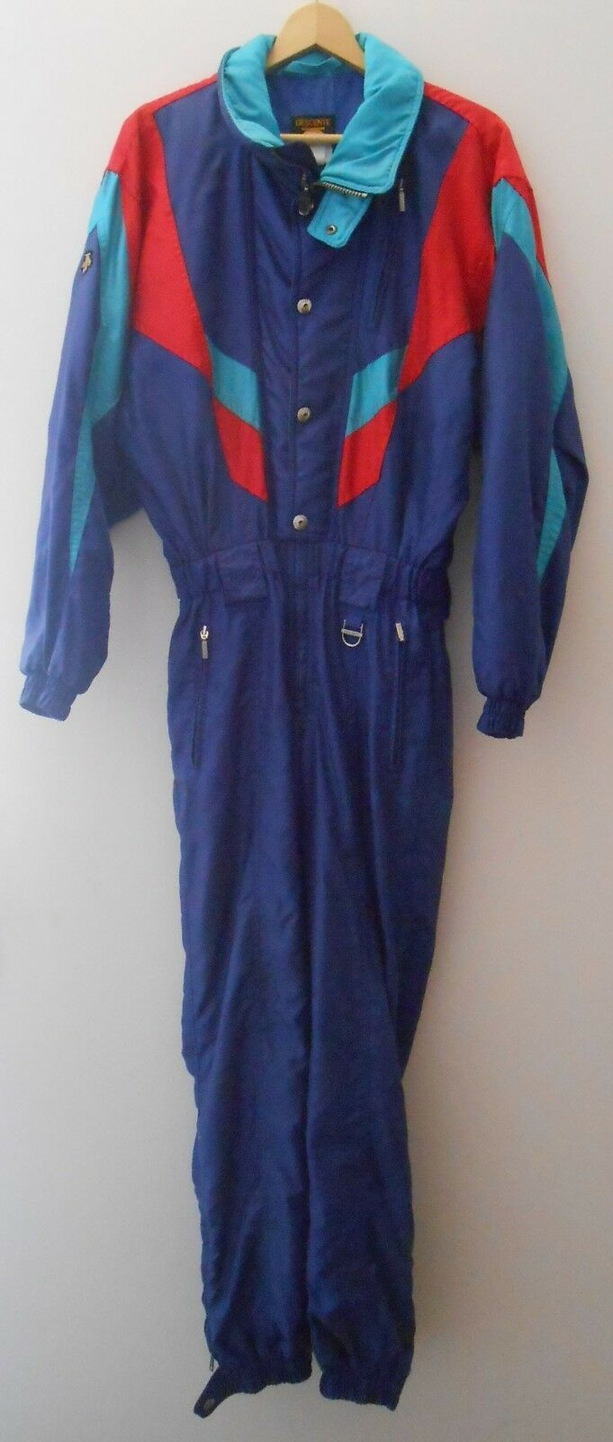 Vtg 80s Navy DESCENTE Racing Men Small Snow SKI Bib Snowsuit