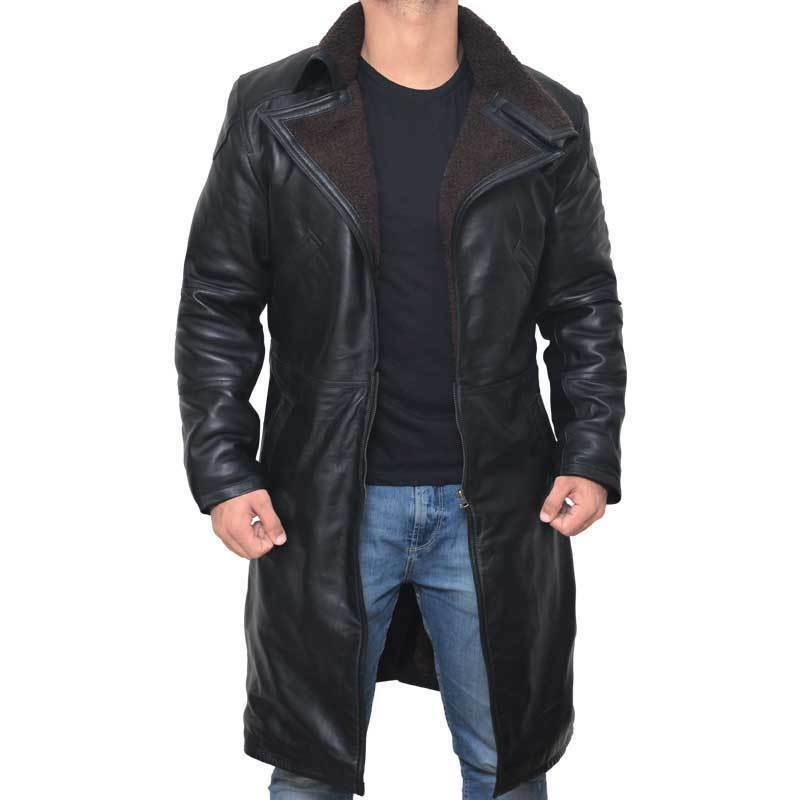 Blade Runner 2049 Ryan Gosling (Officer K) Fur Lapel Collar Trench Leder Coat