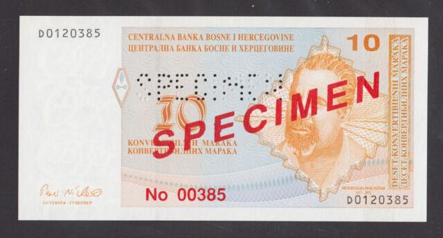 BOSNIA 10 Convertible Maraka ND1998 UNC  SPECIMEN  P63s  PERFORATED