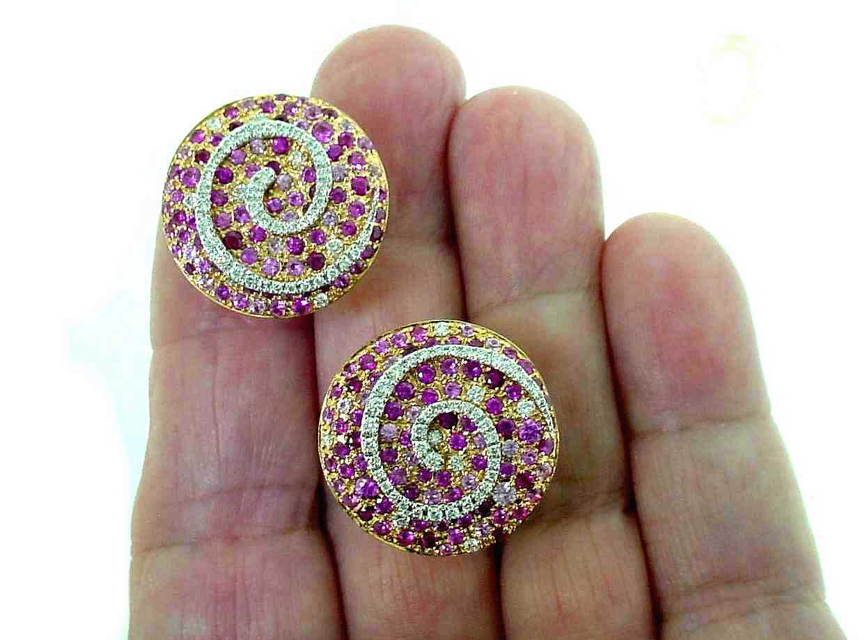 FABULOUS   UGO   CALA  18K  RG   RUBY   DIAMOND  EARRINGS