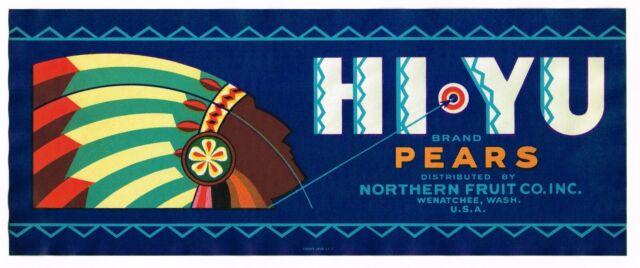 PEAR CRATE BOX LABEL SCARCE BELLBOY SEATTLE ART DECO 1930S ORIGINAL VINTAGE