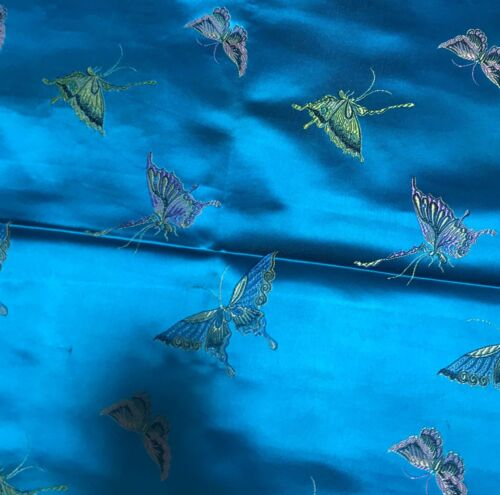 Turquoise with Butterflies Faux Silk Brocade Fabric