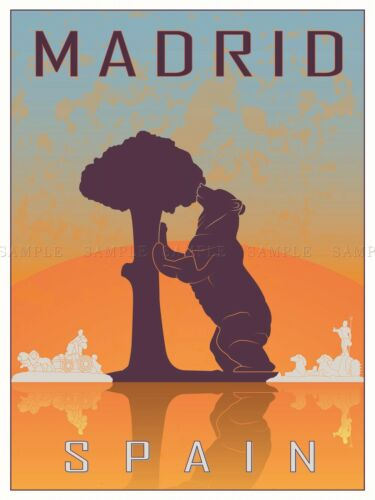 TRAVEL TOURISM MADRID SPAIN BEAR MADRONO TREE CITY SYMBOL VECTOR POSTER BMP10551