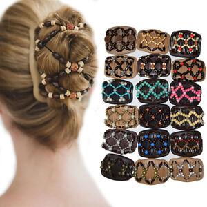 Eg-Mode-Magique-Resine-Perles-Double-Peigne-a-Cheveux-Barrette-Elastique-Femme