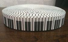 1m Piano Keyboard Keys Musical Notes  Music Black White 22mm Grosgrain Ribbon