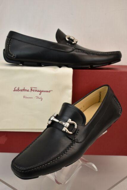 a672eb29a2d Salvatore Ferragamo B20 Gancini Bit Black Driver Loafers Shoes Men 8 ...