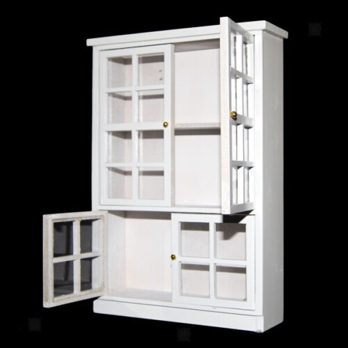 1//12 Dollhouse Miniature White Kitchen Dining Room Carbinet Display Shelf