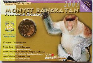 2003 Endangered Animal Coin Card - No. 12 Proboscis Monkey