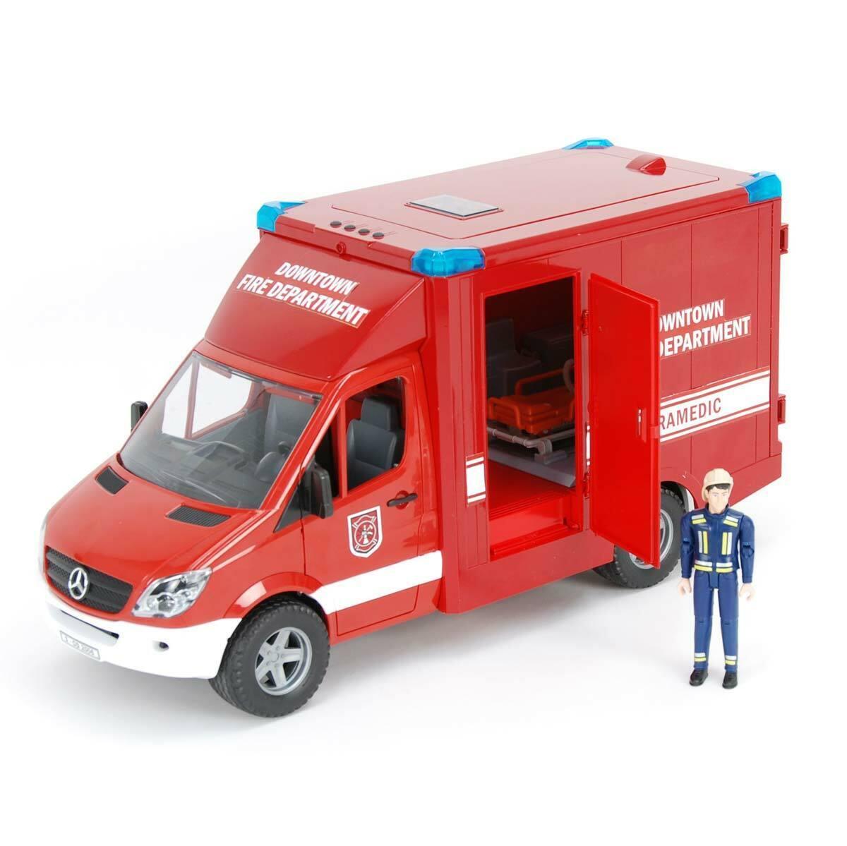 1   16 bruder MB rojo Springer ambulancia con conductor 02539 juguetes nuevos para niños