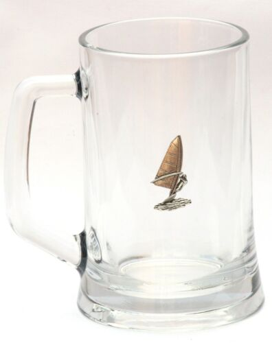 Wind Surfing Emblem Beer Lager Glass 1 Pint Tankard Gift Present FREE UK POSTAGE