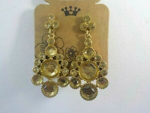 BN-Gold-amp-champagne-coloured-crystal-Drop-Fashion-Earrings-Approx-4-5-cm-long